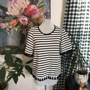 Kate Spade Black & White Stripe tassel Top XL